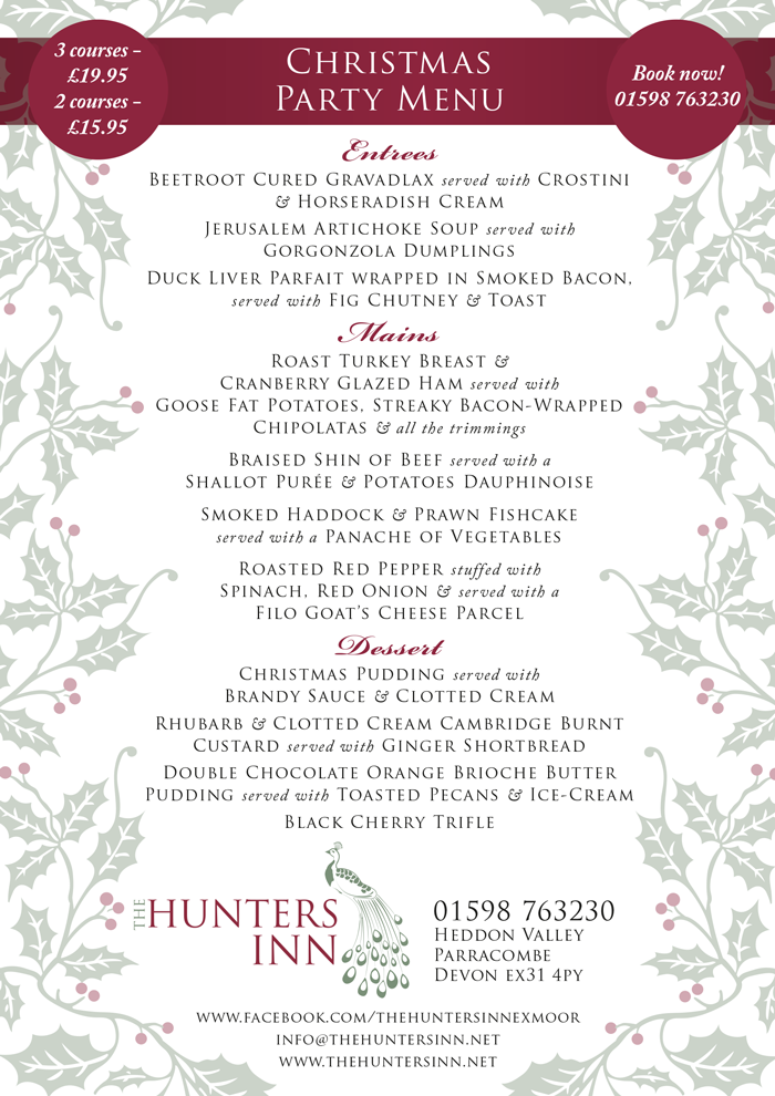 The Hunters Inn Christmas Party Menu