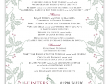 The Hunters Inn Christmas Menu 2015